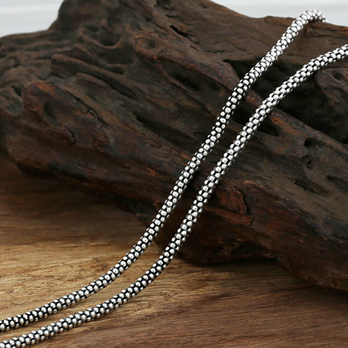 "3 mm Sterling Silver Popcorn Chain 18""-30"""