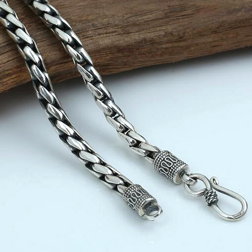 """5 mm Men's Sterling Silver Hammered Curb Chain 18""""-24"""""""