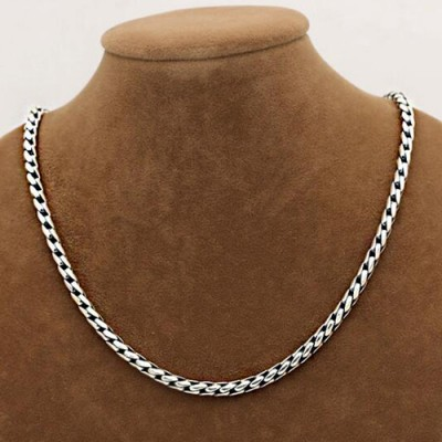 "5 mm Men's Sterling Silver Square Cuban Link Chain 18""-24"""
