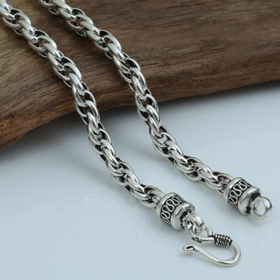 "6 mm Men's Sterling Silver Rope Chain 20""-24"""