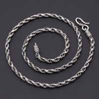 """4 mm Men's Sterling Silver Rope Chain 18""""-24"""""""