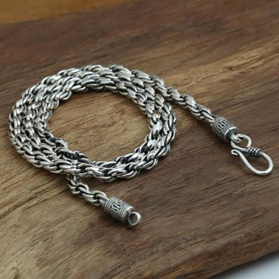 "4 mm Men's Sterling Silver Rope Chain 18""-24"""