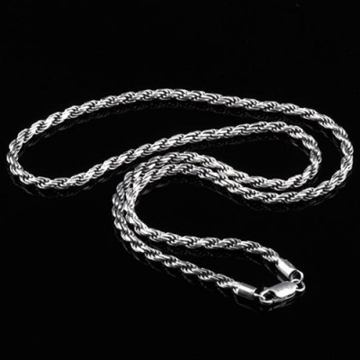 "3 mm Men's Sterling Silver Rope Chain 18""-24"""