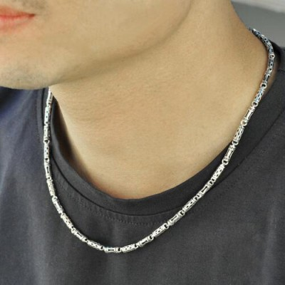 "4 mm Men's Sterling Silver Tube Chain 18""-24"""