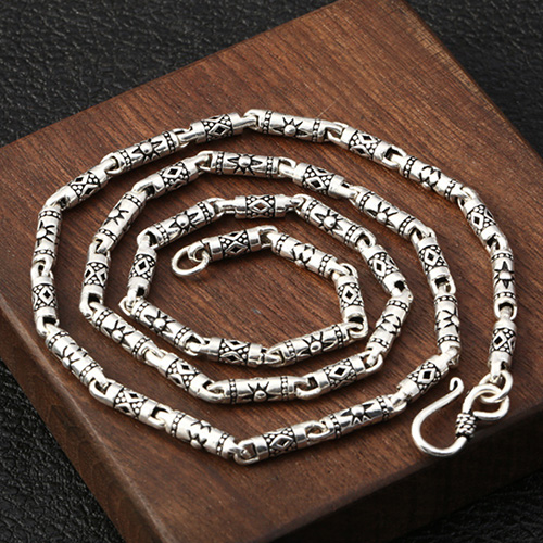 "4 mm Men's Sterling Silver Carved Tube Chain 18""-30"""