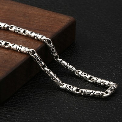 """4 mm Men's Sterling Silver Carved Tube Chain 18""""-30"""""""