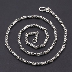 "4 mm Men's Sterling Silver Carved Tube Chain 18""-28"""