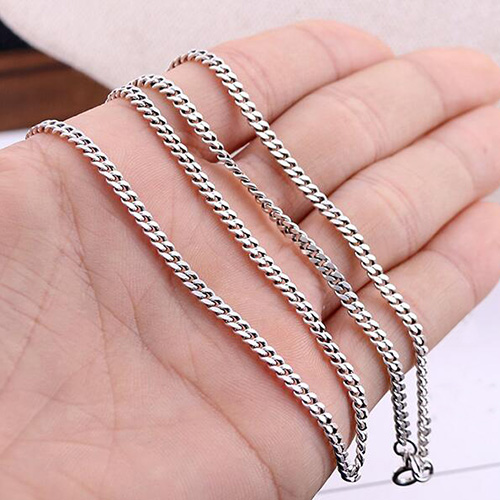 silver width mens curb link cuban chain jewellery solid sterling