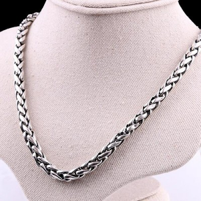 "6 mm Men's Sterling Silver Wheat Chain 18""-24"""