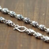 "Men's Sterling Silver Skulls Chain 20""-22"""