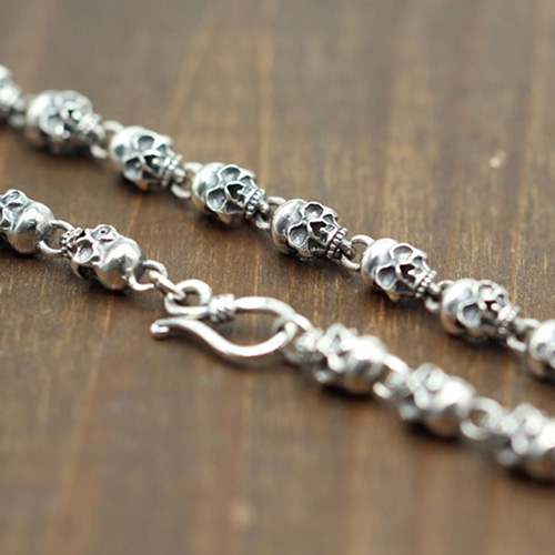 "Men's Sterling Silver Skulls Chain 20""-22"""