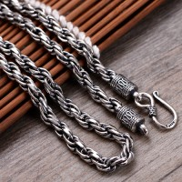 "5 mm Men's Sterling Silver Rope Chain 20""-22"""