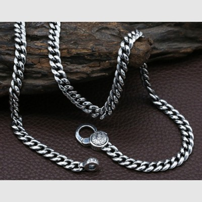 "Men's Sterling Silver Six True Words Mantra Curb Chain 20""-28"""