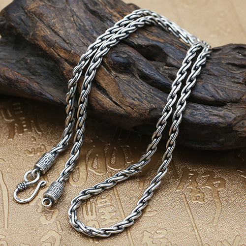 "4 mm Men's Sterling Silver Parisian Wheat Chain 18""-26"""