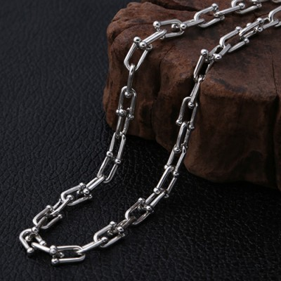 "Men's Sterling Silver Horseshoe Link Chain 20""-26"""