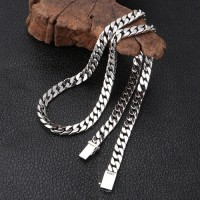"8mm Men's Sterling Silver Curb Chain 22""-24"""