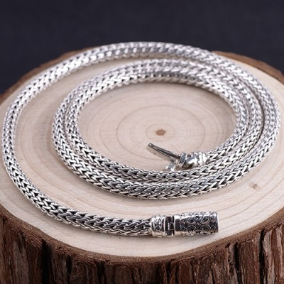 "5mm Men's Sterling Silver Braided Chain 22""-24"""