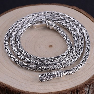 "4mm Men's Sterling Silver Braided Chain 22""-24"""