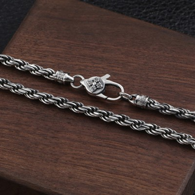 "4 mm Men's Sterling Silver Six True Words Mantra Rope Chain 18""-30"""