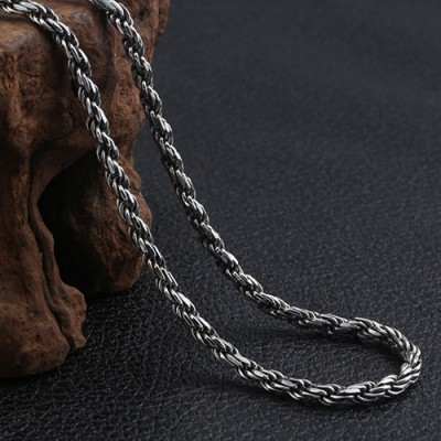 "4mm Men's Sterling Silver Six True Words Mantra Rope Chain 18""-30"""