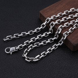 """7mm Men's Sterling Silver Rectangle Link Chain 20""""-30"""""""