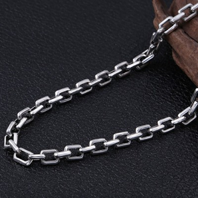 "7mm Men's Sterling Silver Rectangle Link Chain 20""-30"""
