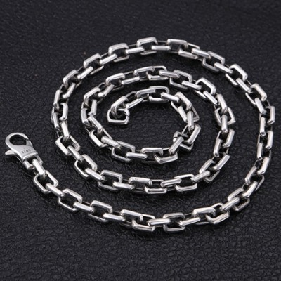 "7 mm Men's Sterling Silver Rectangle Link Chain 20""-30"""