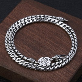 "3mm Men's Sterling Silver Six True Words Mantra Snake Chain 20""-28"""