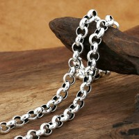 "8 mm Men's Sterling Silver Rolo Chain 20""-24"""
