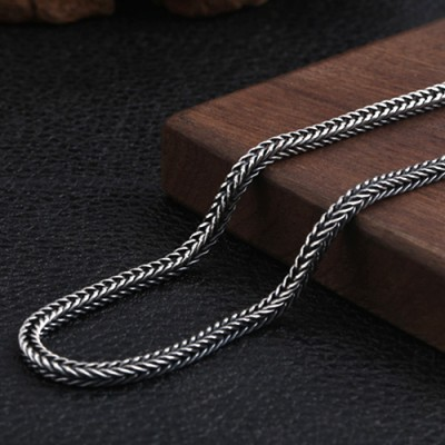 "4mm Men's Sterling Silver Wheat Chain 18""-30"""