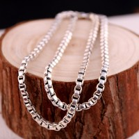 "4mm Men's Sterling Silver Box Chain 20""-22"""