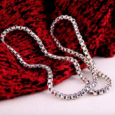 "4 mm Men's Sterling Silver Box Chain 20""-22"""