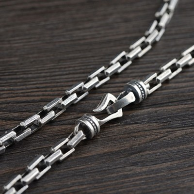 "Men's Sterling Silver Chunky Rectangle Link Chain 22""-24"""