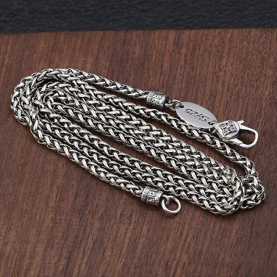 "3 mm Men's Sterling Silver Six True Words Mantra Braided Chain 20""-30"""
