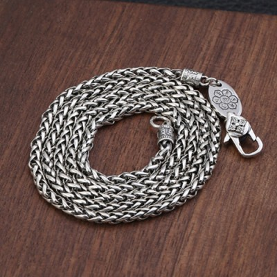 """3 mm Men's Sterling Silver Six True Words Mantra Braided Chain 20""""-30"""""""