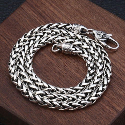 "5 mm Men's Sterling Silver Six True Words Mantra Braided Chain 20""-30"""