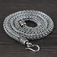 "8 mm Men's Sterling Silver Chunky Braided Chain 22""-24"""