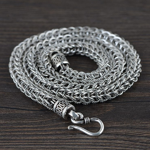 8 mm Men's Sterling Silver Chunky Braided Chain 22""
