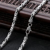 "4.5 mm Men's Sterling Silver Pestle Clasp Byzantine Chain 20""-26"""
