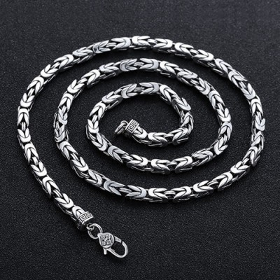 """4.5 mm Men's Sterling Silver Pestle Clasp Byzantine Chain 20""""-26"""""""