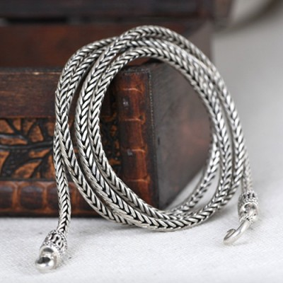 4 mm Men's Sterling Silver Braided Wheat Chain 24""