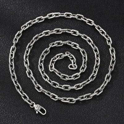 """5.5mm Men's Sterling Silver Oriental Pattern Oval Link Chain 20""""-28"""""""