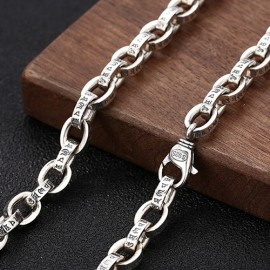 """8.5mm Men's Sterling Silver Six True Words Mantra Oval Link Chain 20""""-28"""""""
