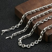 "5 mm Men's Sterling Silver Six True Words Mantra Oval Link Chain 20""-30"""