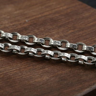 """5 mm Men's Sterling Silver Six True Words Mantra Oval Link Chain 20""""-30"""""""