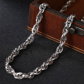 """6.5 mm Men's Sterling Silver Rope Chain 22"""""""