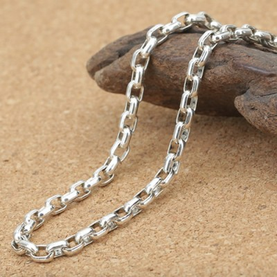 """3 mm Men's Sterling Silver Oval Link Chain 18""""-30"""""""