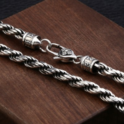 """5.5 mm Men's Sterling Silver Six True Words Mantra Rope Chain 22""""-24"""""""