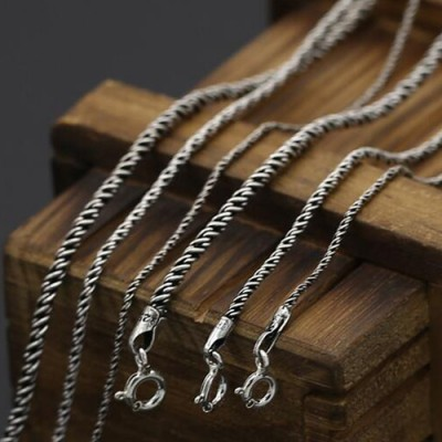 "1-2 mm Sterling Silver Rope Chain 16""-24"""