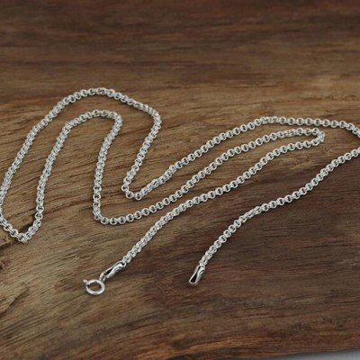 "2 mm Sterling Silver Double-Ring Rolo Chain 18""-24"""